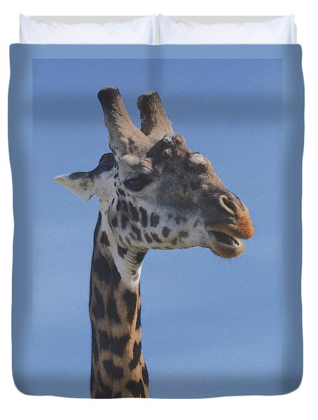 Duvet Cover featuring the photograph Giraffe Headshot by Tom Wurl