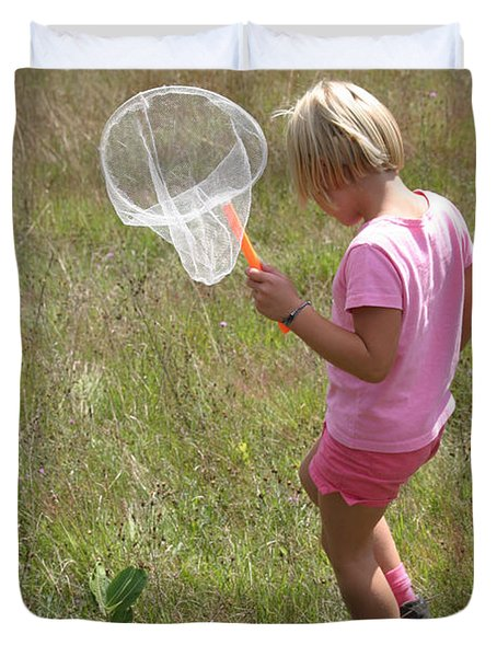 Girl Collecting Insects In A Meadow Duvet Cover by Ted Kinsman