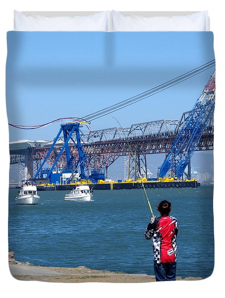 Girl Flying Kite In San Francisco Bay Duvet Cover