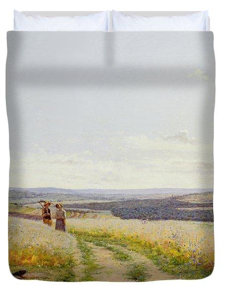 Girl In The Fields   Duvet Cover by Jean F Monchablon