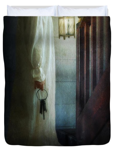 Girl On Stairs With Lantern And Keys Duvet Cover by Jill Battaglia