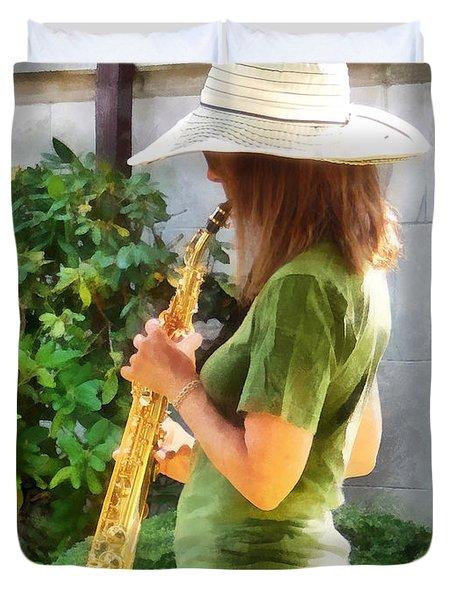 Girl Playing Saxophone Duvet Cover by Susan Savad