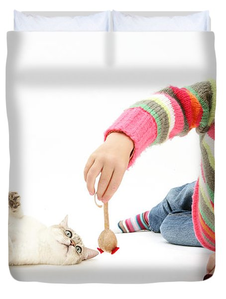 Girl Playing With Cat Duvet Cover by Mark Taylor