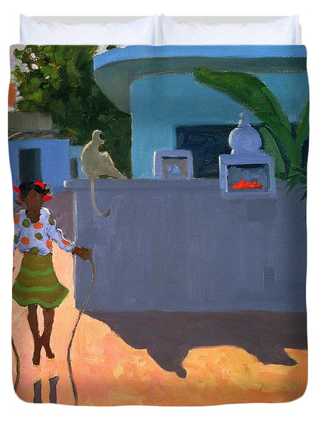 Girl Skipping Duvet Cover by Andrew Macara