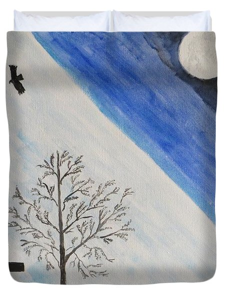 Duvet Cover featuring the painting Girl With A Umbrella by Sonali Gangane