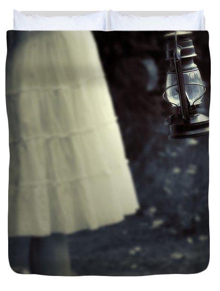 Girl With An Oil Lamp Duvet Cover by Joana Kruse