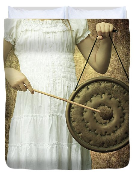 Girl With Gong Duvet Cover by Joana Kruse