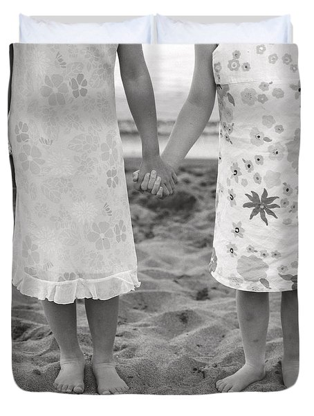 Girls Holding Hand On Beach Duvet Cover by Michelle Quance