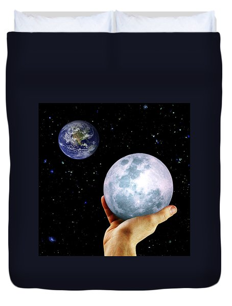 Duvet Cover featuring the photograph Give Her The Moon by Michele Cornelius