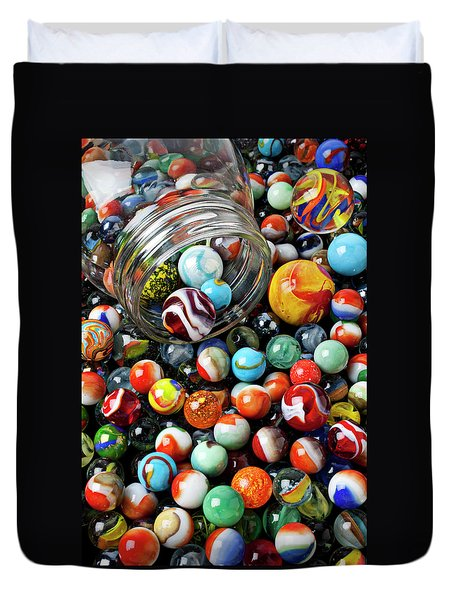 Glass Jar And Marbles Duvet Cover by Garry Gay