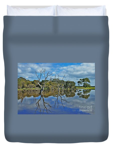 Duvet Cover featuring the photograph Glass Lake by Stephen Mitchell