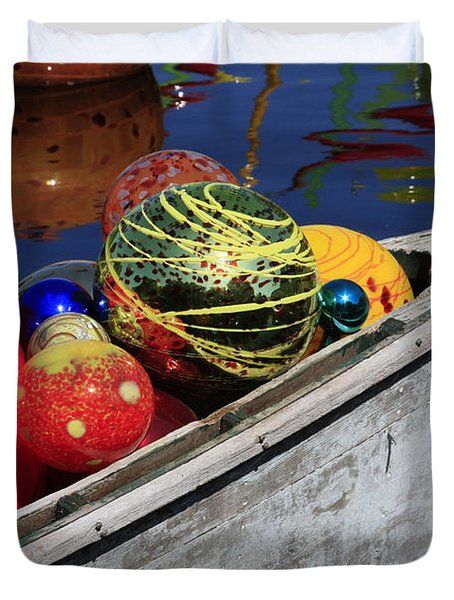 Duvet Cover featuring the photograph Glass Spheres In Bow by Jerry Bunger