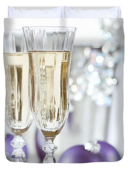 Glasses Of Champagne Duvet Cover by Amanda Elwell