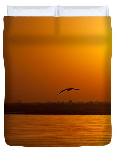 Glides Into Evening Duvet Cover by Karol Livote