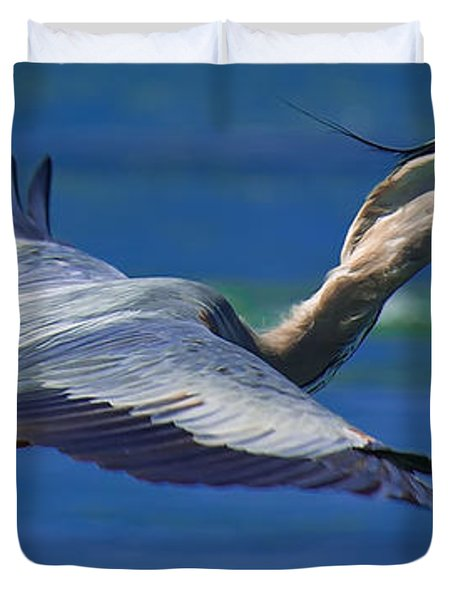Gliding Great Blue Heron Duvet Cover