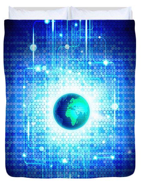 Globe With Technology Background Duvet Cover by Setsiri Silapasuwanchai