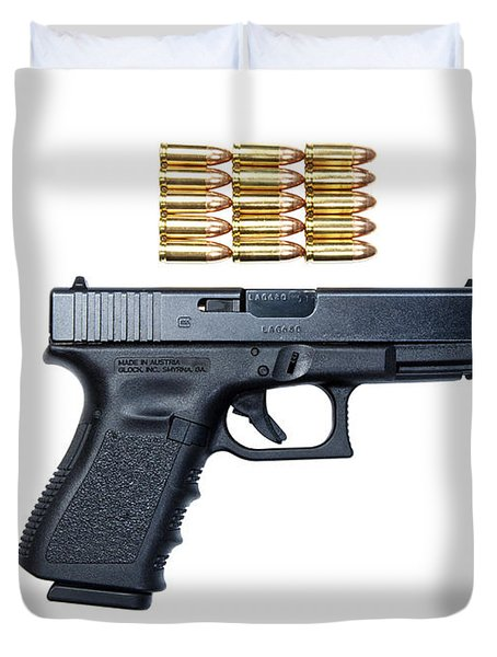 Glock Model 19 Handgun With 9mm Duvet Cover by Terry Moore