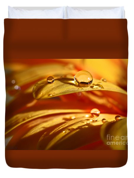 Glowing Amber Duvet Cover by Tracy  Hall