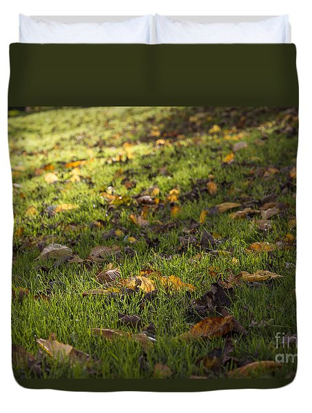 Duvet Cover featuring the photograph Glowing Autumn Day by Clare Bambers