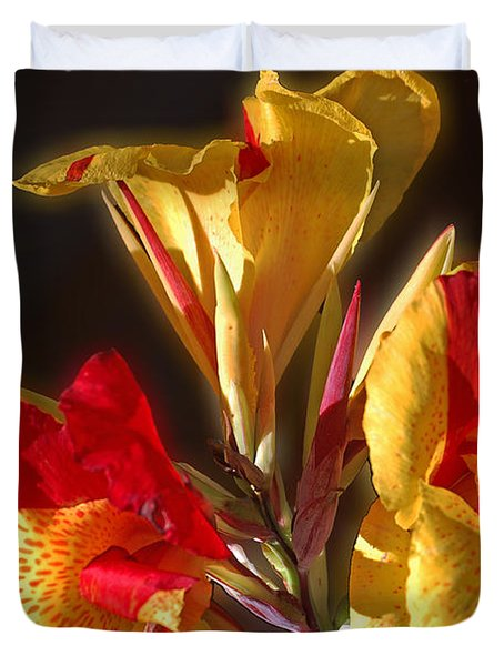 Duvet Cover featuring the photograph Glowing Iris by DigiArt Diaries by Vicky B Fuller
