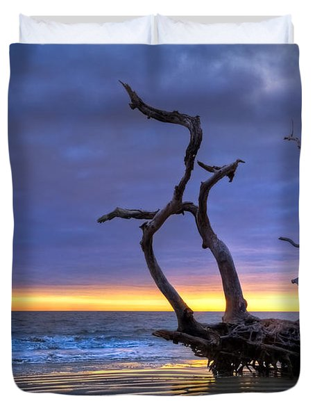 Glowing Sands At Driftwood Beach Duvet Cover by Debra and Dave Vanderlaan