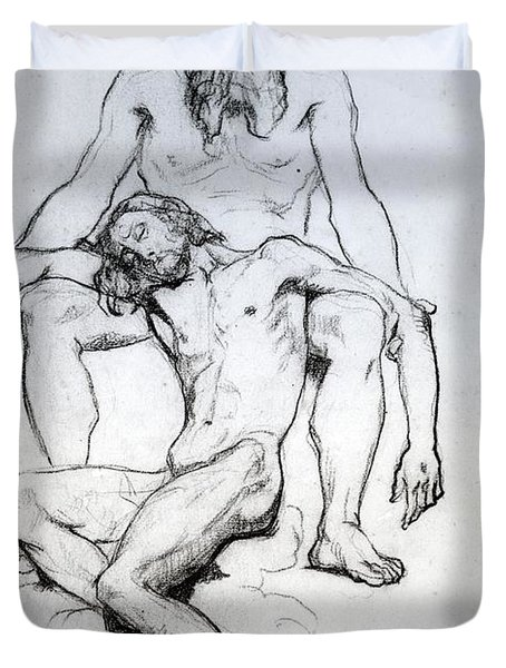 God The Father And God The Son Duvet Cover by Henri Lehmann