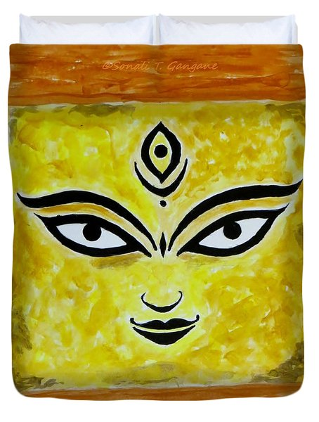 Duvet Cover featuring the painting Goddess Kali by Sonali Gangane