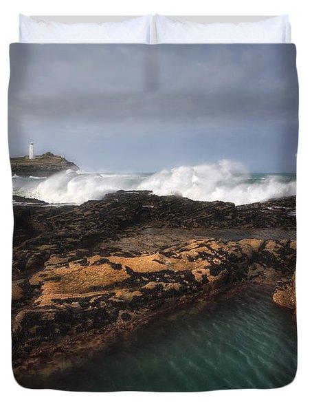 Godrevy Lighthouse In Cornwall, England Duvet Cover by Arild Heitmann