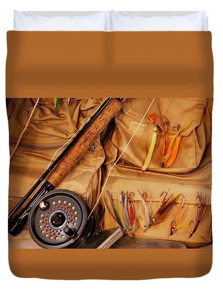 Goin Fishin Duvet Cover by Skip Willits