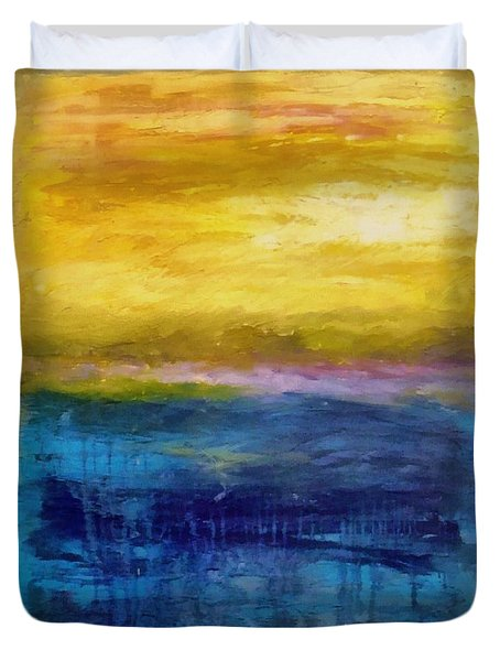 Gold And Pink Sunset Ll Duvet Cover by Michelle Calkins