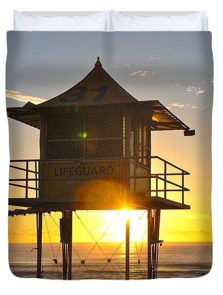 Duvet Cover featuring the photograph Gold Coast Life Guard Tower by Eric Tressler