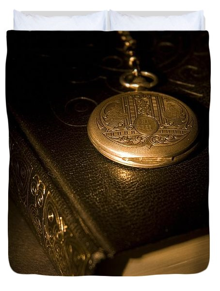 Gold Pocket Watch Resting On A Book Duvet Cover by Philippe Widling
