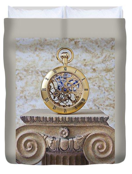 Gold Skeleton Pocket Watch Duvet Cover by Garry Gay