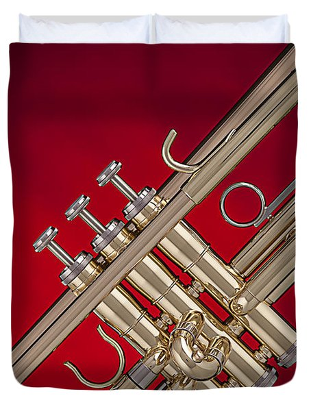 Gold Trumpet Isolated On Red Duvet Cover