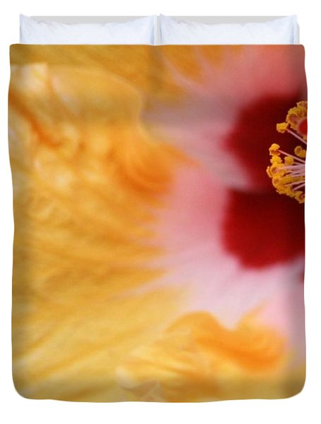 Duvet Cover featuring the photograph Golden And Crimson Hibiscus by Donna Smith