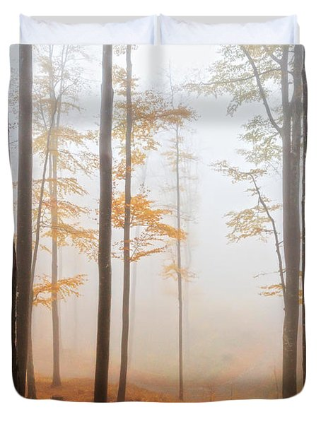 Golden Autumn Forest Duvet Cover by Evgeni Dinev