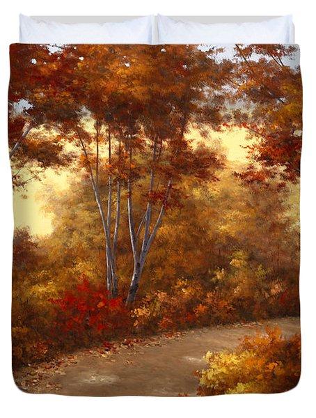 Golden Birch Duvet Cover by Diane Romanello