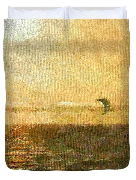 Golden Day Painterly Duvet Cover by Ernie Echols