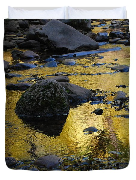 Golden Fall Reflection Duvet Cover by Heather Kirk
