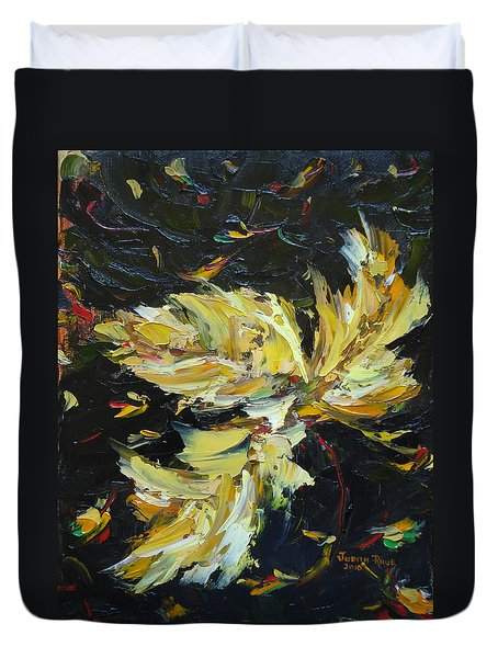 Duvet Cover featuring the painting Golden Flight by Judith Rhue