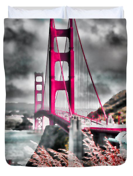 Duvet Cover featuring the photograph Golden Gate Bridge - 5 by Mark Madere