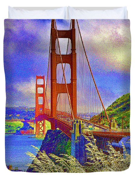Duvet Cover featuring the photograph Golden Gate Bridge - 6 by Mark Madere