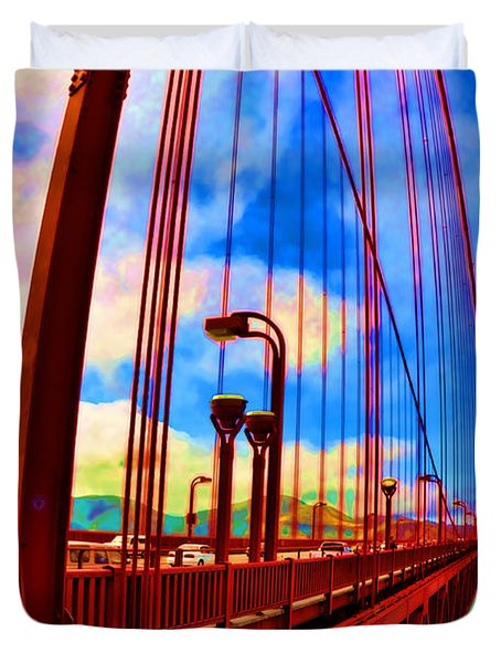 Duvet Cover featuring the photograph Golden Gate Bridge - 8 by Mark Madere