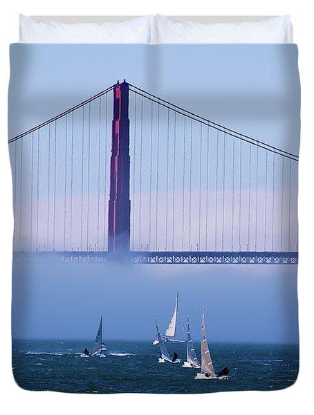 Duvet Cover featuring the photograph Golden Gate Windsurfers by Don Schwartz