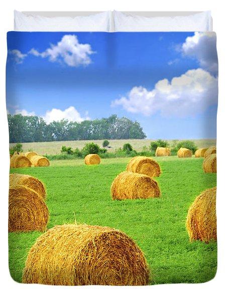 Golden Hay Bales In Green Field Duvet Cover by Elena Elisseeva