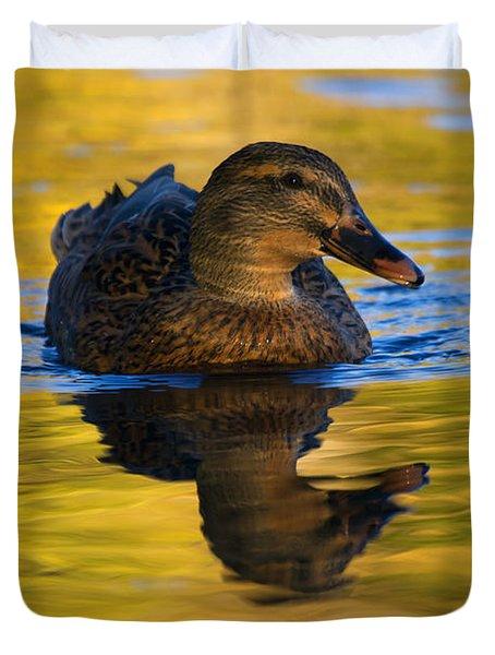 Golden Hen Duvet Cover by Mike  Dawson