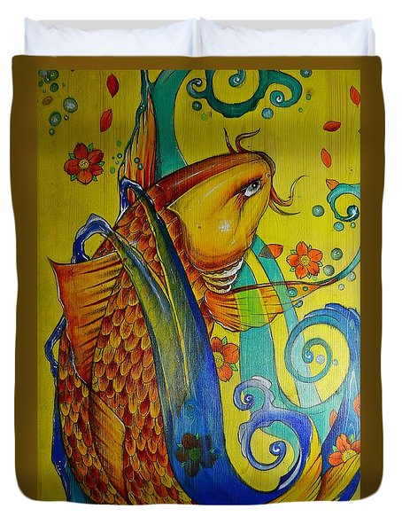 Duvet Cover featuring the painting Golden Koi by Sandro Ramani