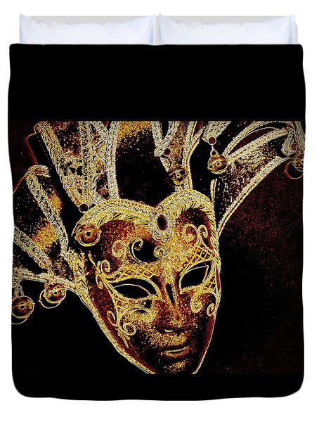 Golden Mask Duvet Cover by Lori Seaman