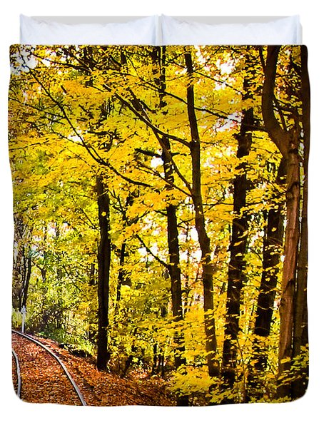 Duvet Cover featuring the photograph Golden Rails by Sara Frank