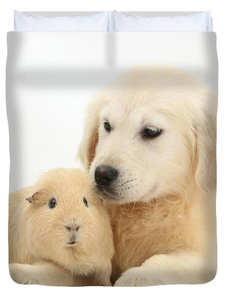 Golden Retriever Pup And Yellow Guinea Duvet Cover by Mark Taylor